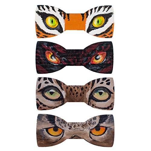 Bow Tie House Eyes bow ties painted on wood unisex pre-tied shape in many colors