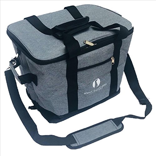 Red Suricata Collapsible Cooler Bag - Large Insulated Soft Cooler Bag for 50 Cans - Keeps Cool for 6 Hours - 30L Portable Cooler Bags Insulated - Soft Sided Travel Cooler (Heathered Dark Grey/Black)