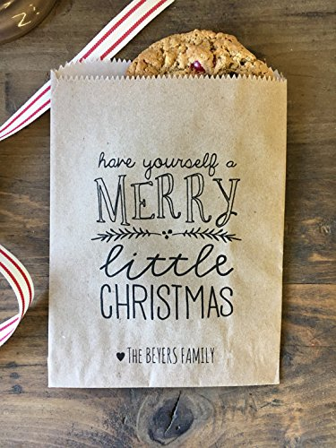 Christmas Goodie Bags, Waxed Bakery Bags, Natural Kraft 5x7 Treat, Cookie or Candy Bags, Personalized for you. Great Teacher or hostess gifts too. Pack of ()