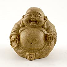 Top Collection Small Round Happy Buddha Decorative Figurine. Sandstone Finish. 3 inches Tall.