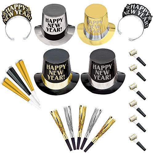 Party City Opulent Affair New Year's Party Kit for 400 Guests, Includes Top Hats and Tiaras -