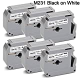 12Mm Label Printer - JetSir M-231 MK231 M-K231 Label Tape Cartridge 6-Pack,Use on Brother P-Touch PT-90 PT-M95 PTM95M PT-70SR PT-80 PT-70BM PT-70 PT-55BM Label Maker, Black on White, 0.47 in x 26.2 ft/(12mm) X (8m)