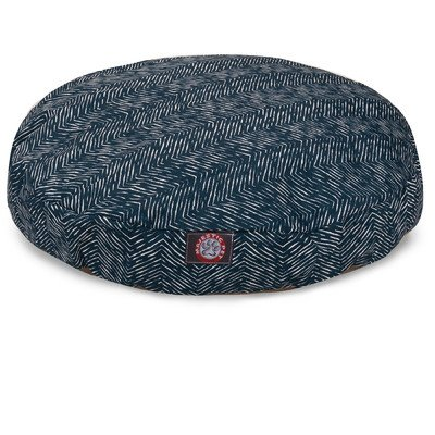 Navy Blue Native Medium Round Indoor Outdoor Pet Dog Bed With Removable Washable Cover By Majestic Pet Products