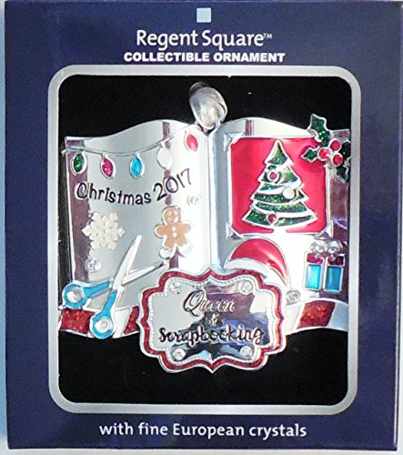 ('Queen of Scrapbooking Christmas 2017' Regent Square Collection Hanging Ornament With Fine European Crystals )