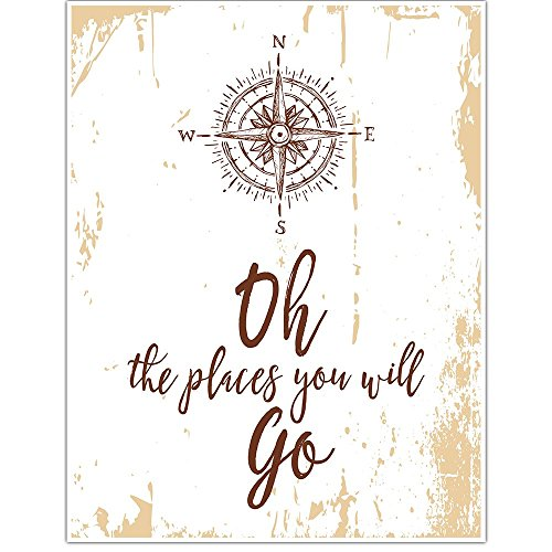 Oh The Places You Will Go Compass Motivational Wall Art