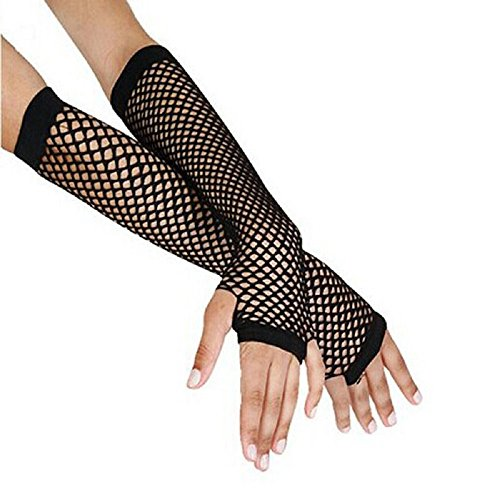 Malltop Sexy Women Punk Gothic Disco Dance Wedding Bride Costume Gloves Lace Fingerless Mesh Fishnet Double-used Mitten Stockings (Black)