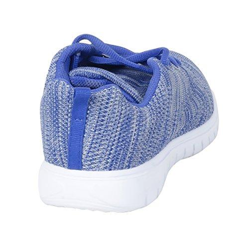Herstyle Kvinners Menneskeskapt Isolatee Spant Stripete Sneaker Flat Bluemulti