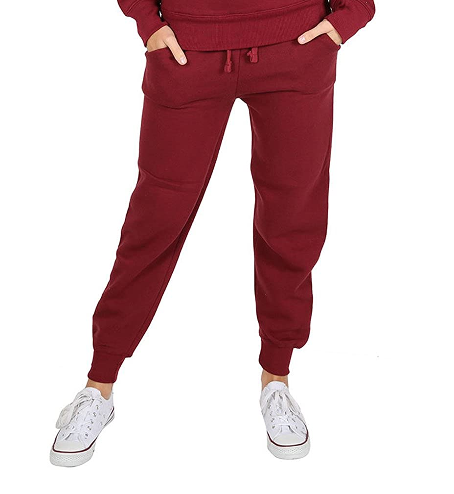 Parsa Fashions ® Womens Plain Fleece Full Length Trouser Girls Gym Pocketed Tie Joggers Jogging Cuffed Bottoms Ladies Small To X-Large