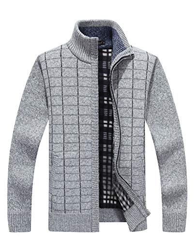 Soft Shell Half Zip Pullover - Vcansion Men's Knitted Fleece Cardigan Sweaters Warm Classic Long Sleeve Full Zip up Plus Jacket Coats Light Grey US XL/Asian 3XL