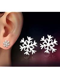 New Women Fashion 925 Sterling Silver Snowflake Stud Earrings Jewelry Xmas Gift