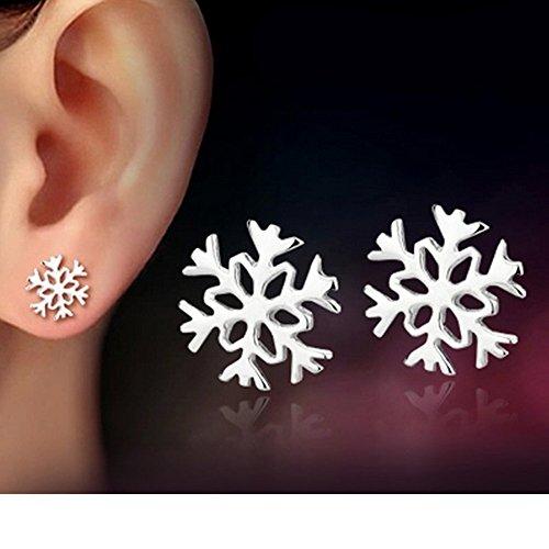MANDI HOME New Women Fashion 925 Sterling Silver Snowflake Stud Earrings Jewelry Xmas Gift