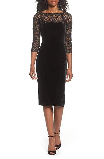 1a31ebad Image Unavailable. Image not available for. Color: Elisa J Woman's Lace & Velvet  Sheath Dress Eliza ...