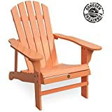 Songsen Fashion Outdoor Wood Adirondack Chairs/Muskoka Chair Patio Deck  Garden Furniture (Adult,Peach)