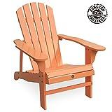 Wooden Patio Chairs Songsen Outdoor Wooden Adirondack Chair Lawn Patio Deck Garden Furniture, Light Orange