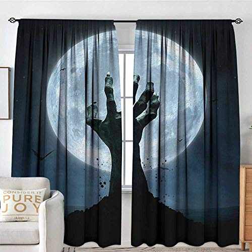 NUOMANAN Pattern Curtains Halloween,Realistic Zombie Earth Soil Full Moon Bat Horror Story October Twilight Themed,Blue Black,Rod Pocket Curtain Panels for Bedroom & Kitchen -