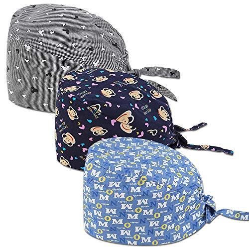 CHUANGLI 3Pcs Gourd-Shaped Scrub Caps Medical Surgical Hat for Doctor Nurse Headwear – Women/Men
