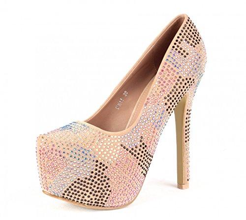 Designer Damen Schuhe Strass Pumps Stiletto Plateau Glitzer High