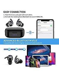 Auriculares inalámbricos con Bluetooth 5.0, reducción de ruido en los oídos, con conexión fuerte TWS Mini Earphones funda de carga magnética y ganchos extraíbles para entrenamiento, compatible con teléfonos celulares