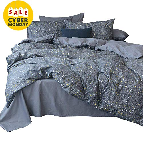 Price comparison product image AMWAN Star Universe Print Cotton Duvet Cover Set Queen 3 Piece Modern Reversible Bedding Cover Set Hotel Quality Luxury Bedding Collection Ultra Soft Full Queen Duvet Comforter Cover Set