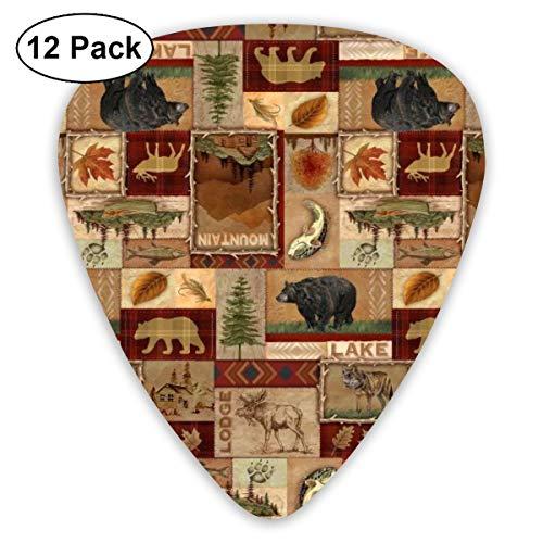 (PDIYO Rustic Lodge Bear Moose Deer Suitable for Electric Guitars, Acoustic Guitars, Guitar Selection£¨12 Pieces£.)