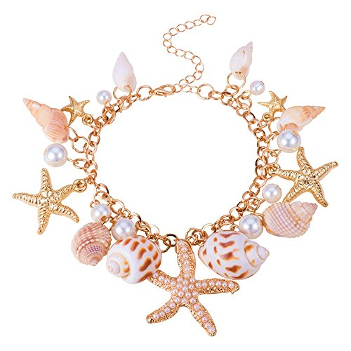 BODYA Hot Sweet Chunky Gold Tone Sea Shell Starfish Pearl beads pendant Bib Statemen bracelet wonen girls jewelry gold (Gold Seashell Bracelet)