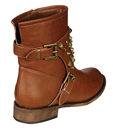 YABSHOP Breckelle's Apache-21 Studded Military Harness Buckle Combat Boots Booties