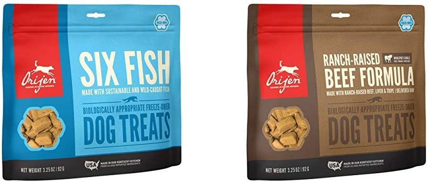 ORIJEN Dog Treat 2-Pack Six Fish, Angus Beef 3.25oz