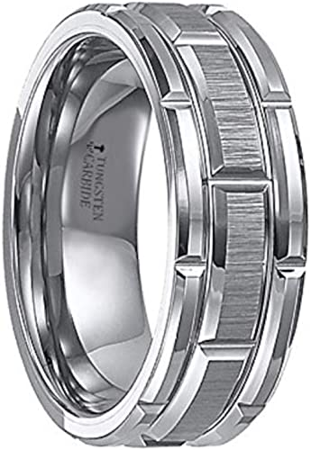 8mm Wedding Band Ring Stainless Steel Half Round Polished Grooved Matte Finish