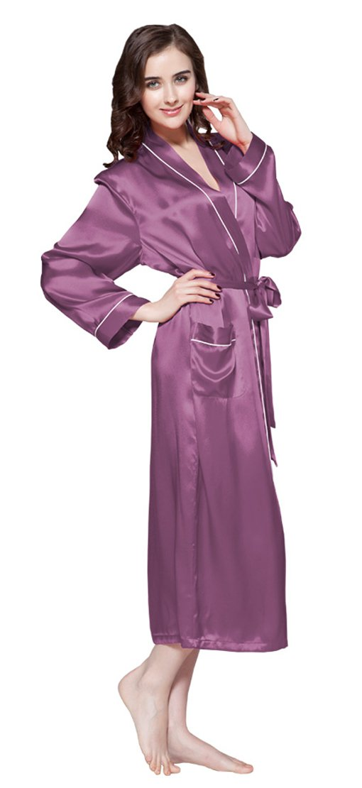 Lilysilk Silk Robe For Women With Pockets Long Kimono Mulberry 22 Momme Contra Trim Full Length 100% Pure Silk (18/XXL, Violet)