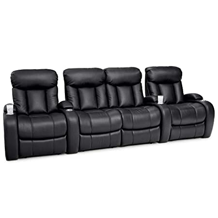 Seatcraft Sausalito Home Theater Seating Manual Recline Leather Gel Row of 4 Loveseat, Black