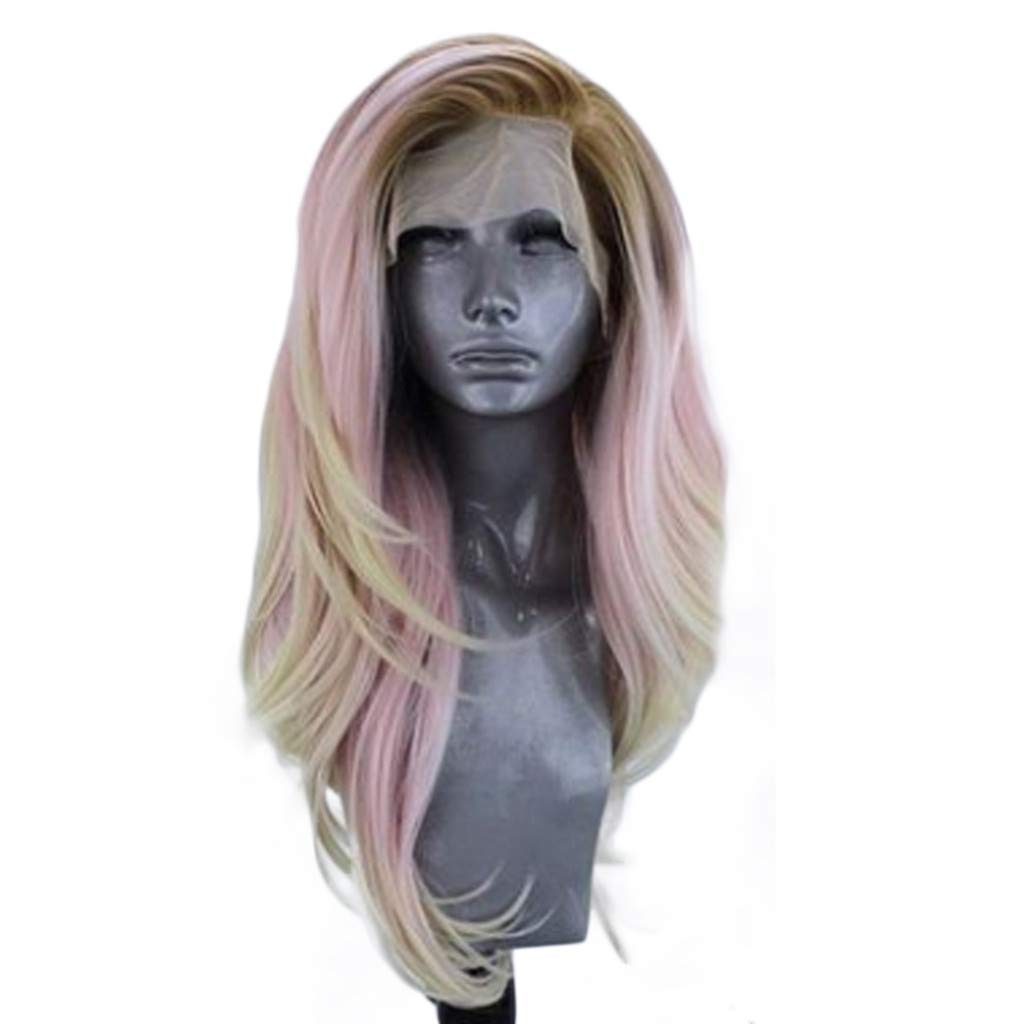 Rigel7 Women's Fashion Pink Front lace Wig Mixed Color Glueless Long Natural Wavy Middle Part Synthetic for Women Half Hand Tied Heat Party Cosplay