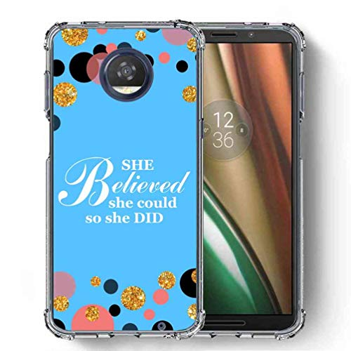 for Motorola Moto Z3 Play Case, SuperbBeast Ultra Slim Thin Protective Case w/Reinforced Corners Vector Floral Flowers Polka Dots [Glitter Pattern] ()