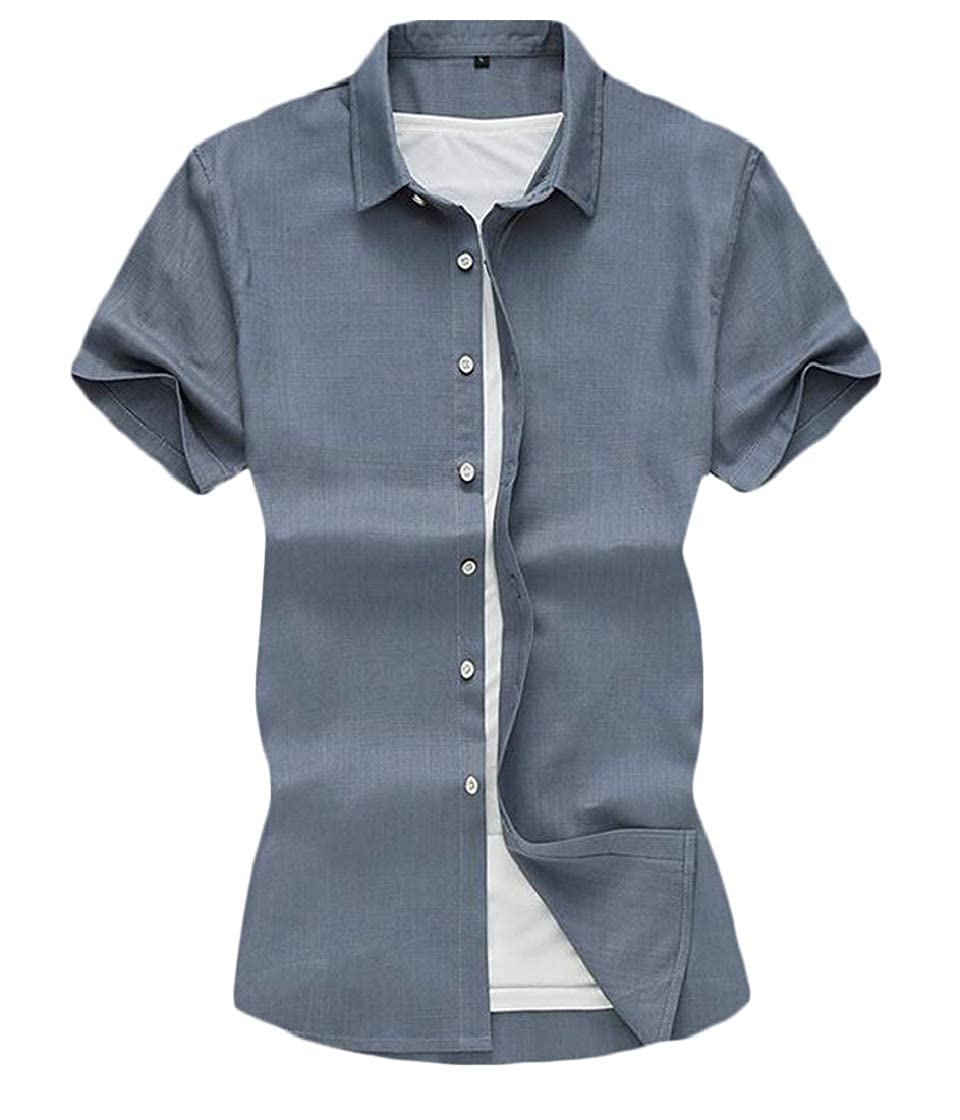 YYear Mens Business Chinese Style Linen Buttons Fashion Dress Shirts
