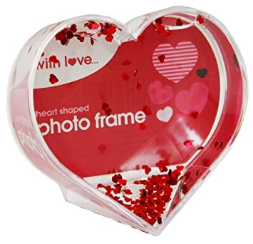Heart Shaped Picture Frame Snow Globe With Red Heart Flakes: Amazon ...