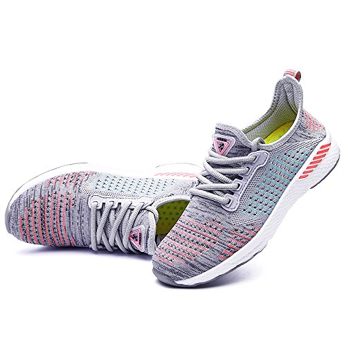 JACKSHIBO Unisex Breathable Low-Top Sneakers Comfort Fashion Casual Sport Shoes Trainers Grey1 PH7Kn