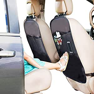 Car Seat Back Protector (2 Pack) - Car Kick Mat Odor Free, Waterproof Fabric, Reinforced Corners to Prevent Sag, and 2 Mesh Pockets Car Storage Organizer