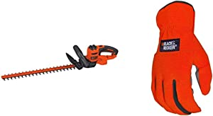 BLACK+DECKER Hedge Trimmer, 22-Inch with Easy-Fit All Purpose Glove (BEHT350FF & BD505L)