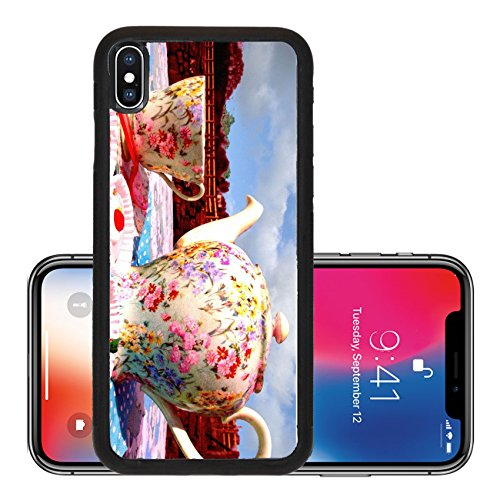Liili Premium Apple iPhone X Aluminum Backplate Bumper Snap Case IMAGE ID: 5646978 Vintage tea pot cup saucer and cakes arranged on a table outside