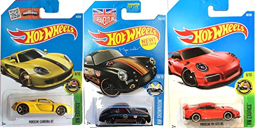 (Porsche 356A Outlaw Black Hot Wheels Bundle & Porsche 911 GT3 RS & Carrera GT Yellow New Casting HW Showroom & Exotics Cars in PROTECTIVE CASES)