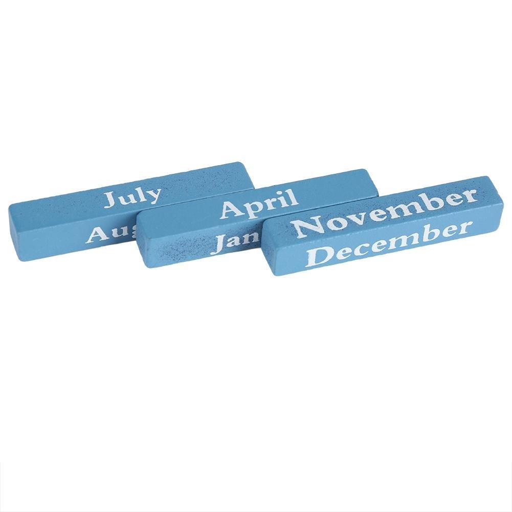 Black European Perpetual Wooden Calendar Desktop Block Wood Calendar DIY Yearly Planner Pen Holder Desk Office Stationery