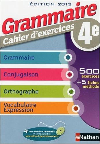 Amazon Fr Grammaire 4e Cahier D Exercices Cecile De