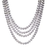 HinsonGayle Handpicked 8.5-9mm Lustrous White Circlé Baroque Freshwater Cultured Pearl Rope 82""