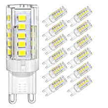 DiCUNO G9 LED Ceramic Base Light Bulbs, 4W (40W Halogen Equivalent), 400LM, Daylight White (5000K), G9 Base, G9 Bulbs for Home Lighting, 12-Pack