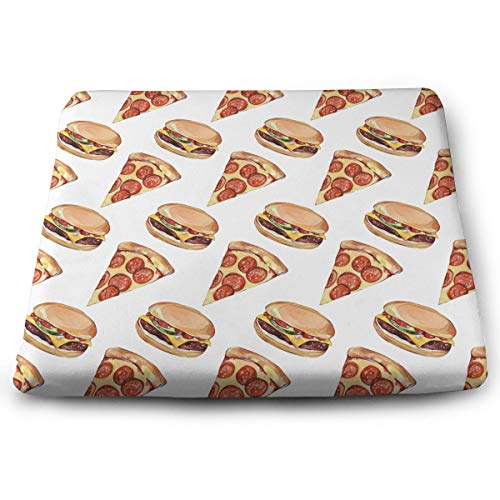 NiYoung Pizza&Burger Pattern Seat Cushion Pad Memory Foam Cushion for Drivers Office Chairs Wheelchairs, Square Ergonomic Lumbar Support Pillow for Relief Lumbar Muscles Cushion