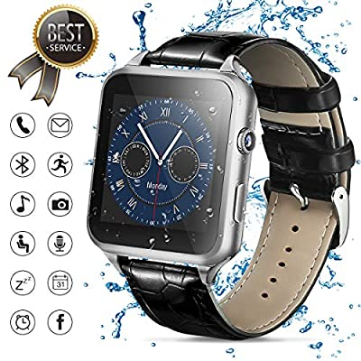 Smart Watch,Bluetooth Smartwatch Touch Screen Smart Phone Watch Android Smartwatch with Camera/SIM Card Slot Waterproof Bluetooth Smart Watch for Android Phones Samsung Men Women (Silver)