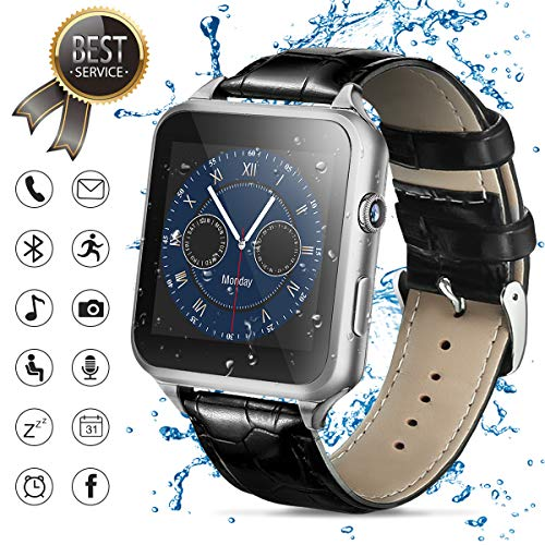 - Smart Watch,Bluetooth Smartwatch Touch Screen Smart Phone Watch Android Smartwatch Bluetooth Watch with Camera/SIM Card Slot Sports Mens Wrist Watch Waterproof Bluetooth Smart Watch for Android Phones