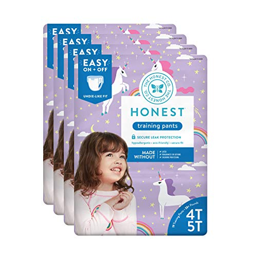 The Honest Company Toddler Training Pants, Unicorns, 4T/5T, 76 Count