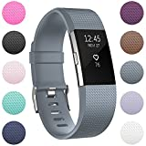 Fitbit Charge 2 Replacement Elastomer Bands, RedTaro Accessories Fitbit Charge 2 Heart Rate Fitness Wristbands Large Gray
