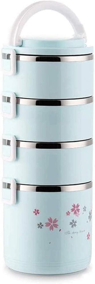 ランチバケツ大容量の学生エクストラロング絶縁バケツポータブルレイヤードポータブルライス配達多層断熱ランチボックス弁当箱 (Color : Blue, Size : 4 layers)