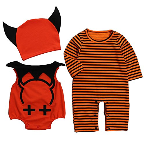 Baby Halloween Pumpkin Romper,3Pcs Infant Long sleeved Jumpsuit Outfit With Devil Wings